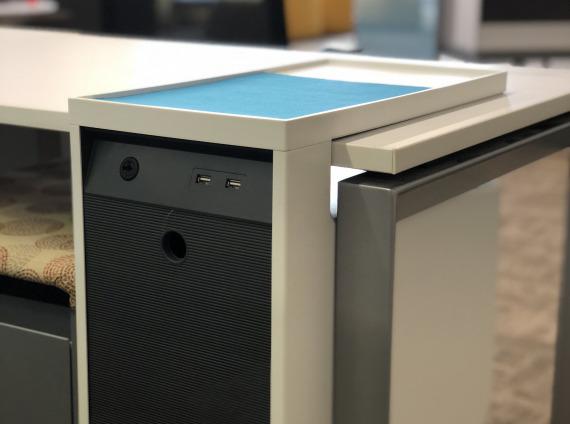 Detail of desk storage