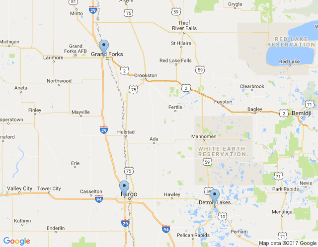 Map of Fargo, ND