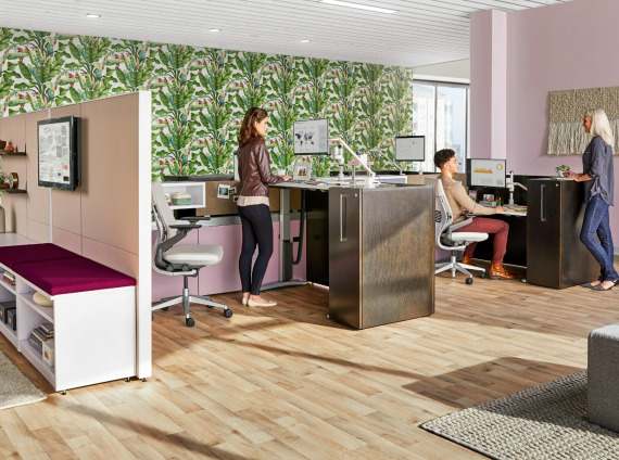 Answer panel workstations with height-adjustable desks